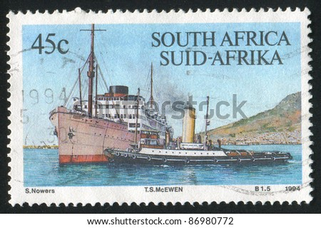SOUTH AFRICA - CIRCA 1994: A stamp printed by South Africa, shows ship, circa 1994. - stock photo