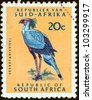"SOUTH AFRICA - CIRCA 1961: A stamp printed in South Africa from the ""Republic"" issue shows a Secretary bird, circa 1961. - stock photo"