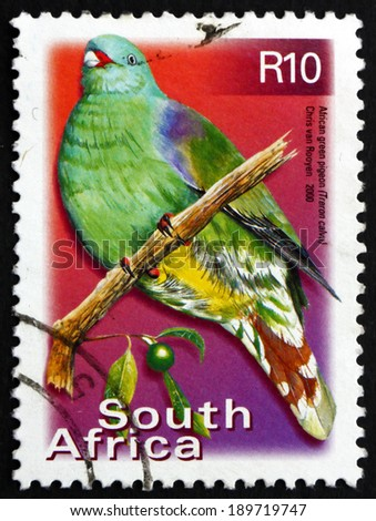 SOUTH AFRICA - CIRCA 2000: a stamp printed in South Africa shows African Green Pigeon, Treron Calvus, Bird, circa 2000 - stock photo