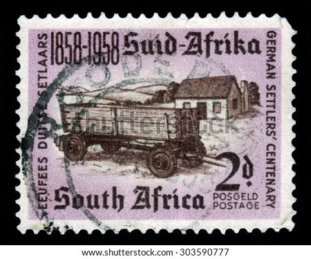 SOUTH AFRICA - CIRCA 1958: a stamp printed in South Africa shows first rural settlements, centenary of the establishment of german settlers, circa 1958 - stock photo
