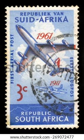 SOUTH AFRICA - CIRCA 1961: A stamp printed in South Africa shows history of development of airmail, 50 year anniversary, circa 1961 - stock photo