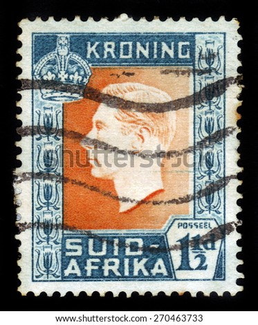 """SOUTH AFRICA - CIRCA 1937: a stamp printed in South Africa, shows King George VI, from the """"Coronation"""" issue , circa 1937 - stock photo"""