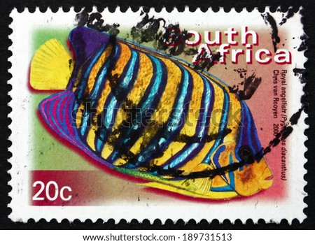 SOUTH AFRICA - CIRCA 2000: a stamp printed in South Africa shows Royal Angelfish, Pygoplites Diacanthus, Marine Tropical Fish, circa 2000 - stock photo