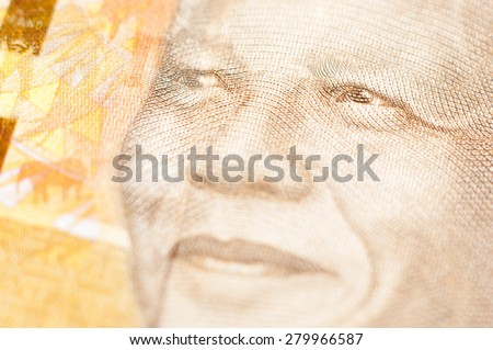 South Africa - circa 2014: Nelson Mandela on 20 Rand 2014 Banknote from South Africa. - stock photo