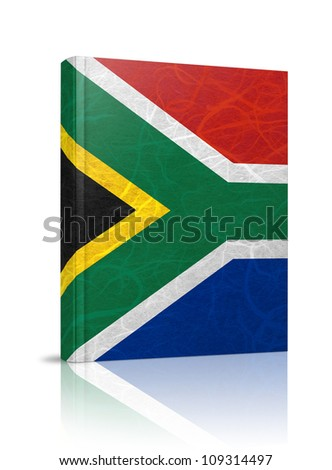 South Africa flag book. Mulberry paper on white background. - stock photo