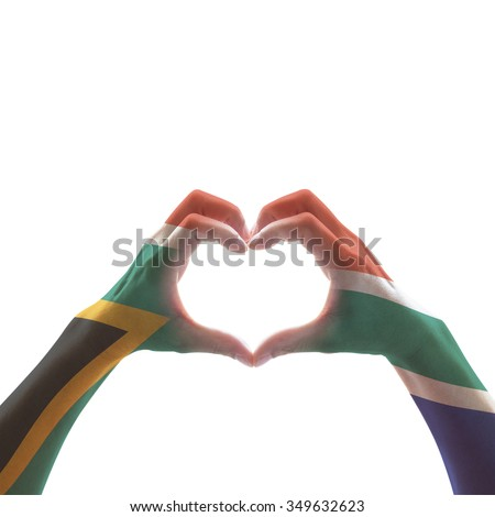 South Africa flag color pattern on women human hands in heart shape isolated on white background: Hand sign language symbolic concept of national unity, union, love for the nation and reconciliation  - stock photo
