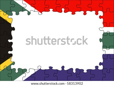 South Africa flag puzzle border - stock photo