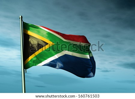 South Africa flag waving in the evening - stock photo