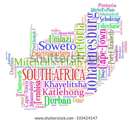 South Africa map and words cloud with larger cities - stock photo