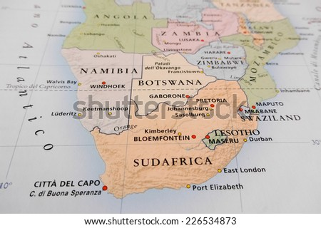 South Africa map (Geographical view altered on colors/perspective and focus on the edge. Names can be partial or incomplete) - stock photo