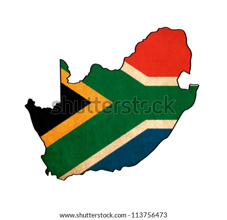 South Africa map on South Africa flag drawing ,grunge and retro flag series - stock photo