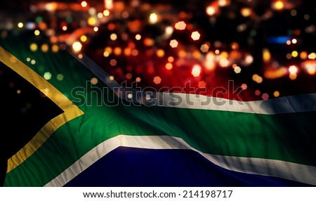 South Africa National Flag Light Night Bokeh Abstract Background - stock photo