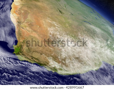 South Africa with surrounding region as seen from Earth's orbit in space. 3D illustration with highly detailed planet surface and clouds in the atmosphere. Elements of this image furnished by NASA. - stock photo