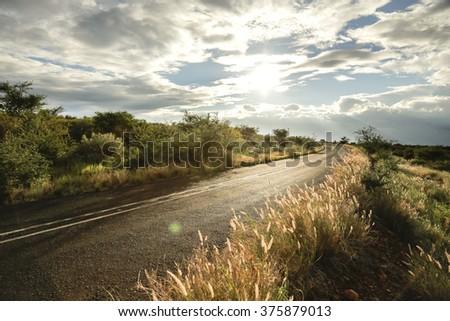 south african country road - Kuruman region  - stock photo