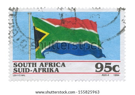 South African flag stamp on a white background - stock photo