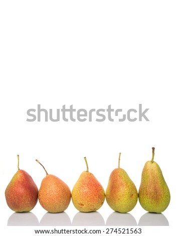 South African forelle pear fruit over white background - stock photo