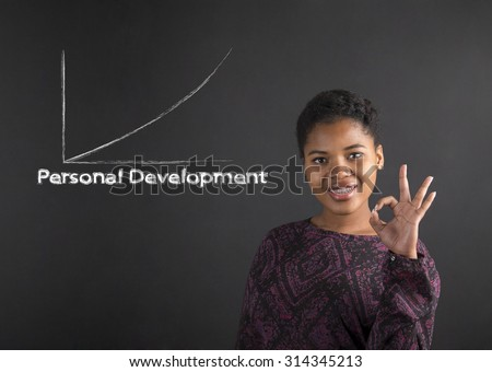 South African or African American black woman teacher or student holding up a perfect hand signal showing personal development on a chalk blackboard background inside - stock photo