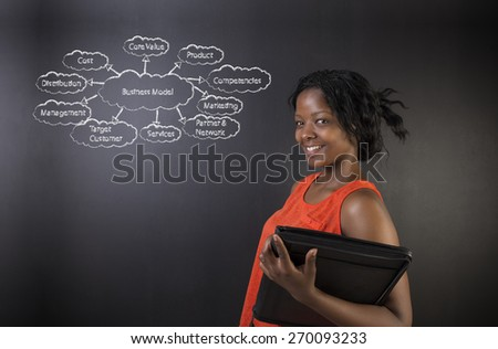 South African or African American woman teacher or student holding a diary against a blackboard background with a chalk business diagram - stock photo