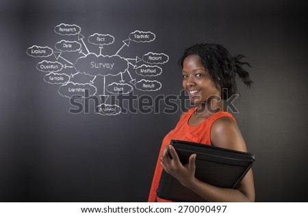South African or African American woman teacher or student holding hand a diary or book standing against a blackboard background with a chalk survey diagram concept - stock photo