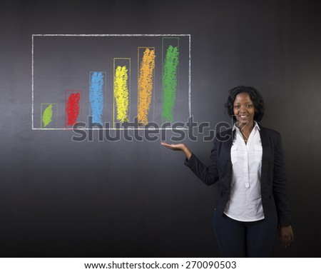 South African or African American woman teacher or student holding out her hand against a blackboard background with a chalk bar graph - stock photo