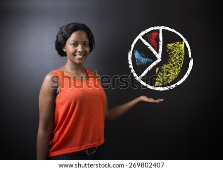 South African or African American woman teacher or student with chalk pie chart on blackboard background - stock photo