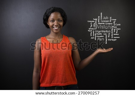 South African or African American woman teacher or student with hand out standing against a blackboard background with a chalk vision diagram - stock photo