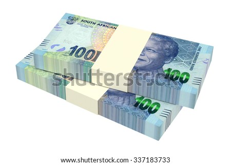 South african rands isolated on white background. Computer generated 3D photo rendering. - stock photo