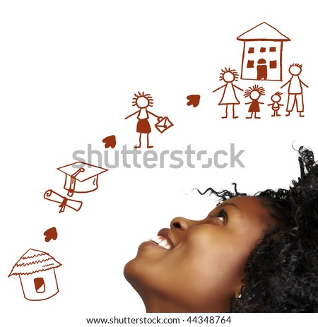 South African young woman dreaming about her success in the future. - stock photo