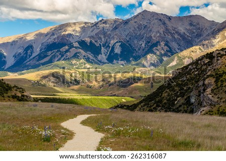 South Alps mountains, South island of New Zealand - stock photo