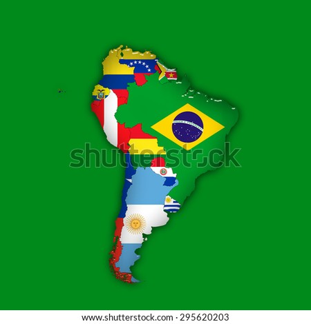 South America,continent, flags, maps, and green  background - stock photo