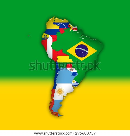 South America,continent, flags, maps, and green yellow color background - stock photo