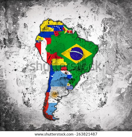 South America,continent, flags, maps and wall background - stock photo