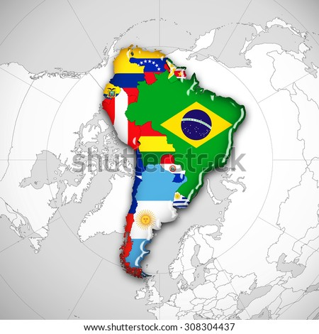 South America,continent,flags,maps and world map background - stock photo