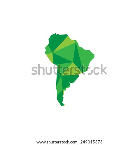South America continent. Polygonal illustration - stock photo