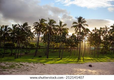 South America. Easter Island. Mountains. Ocean. - stock photo