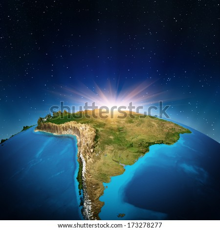 South America from space. Elements of this image furnished by NASA - stock photo