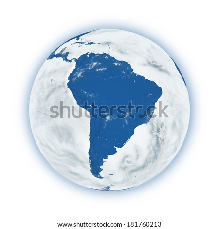 South America on blue planet Earth isolated on white background. Highly detailed planet surface. Elements of this image furnished by NASA. - stock photo