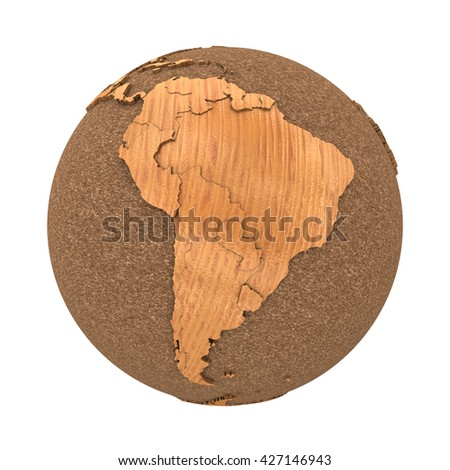 South America on 3D model of wooden planet Earth with oceans made of cork and wooden continents with embossed countries. 3D illustration isolated on white background. - stock photo