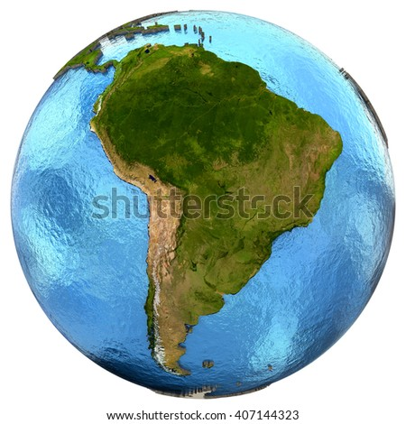 South America on detailed model of planet Earth with continents lifted above blue ocean waters. 3D Illustration. Elements of this image furnished by NASA. - stock photo