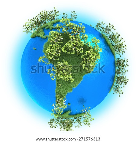 South America on grassy planet Earth with cotton isolated on white background - stock photo