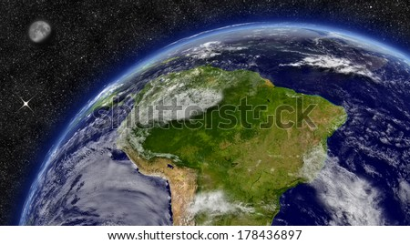 South America region on planet Earth from space with Moon and stars in the background. Elements of this image furnished by NASA. - stock photo
