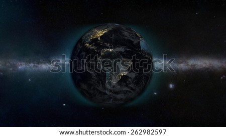 South American Galaxy View (Elements of this image furnished by NASA) - stock photo
