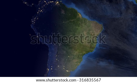 South American Space View (Elements of this image furnished by NASA) - stock photo