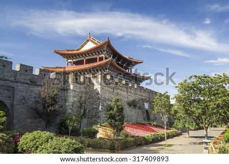 South ancient city gate of Dali old town area ,Yunnan China.  Dali ancient city was a gateway to the Silk Road in Southwest China in ancient times. - stock photo