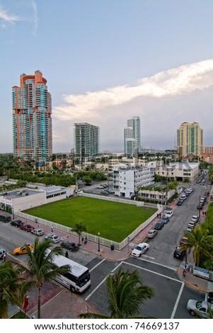 South Beach Business District, Miami, Florida - stock photo
