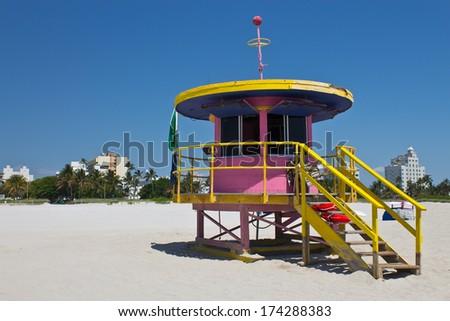 South Beach lifeguard hut in Miami, Florida - stock photo