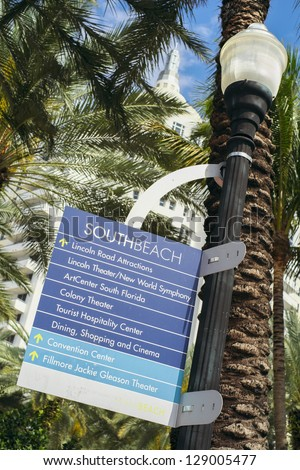 South Beach sign along Collins Avenue in Miami Beach. - stock photo