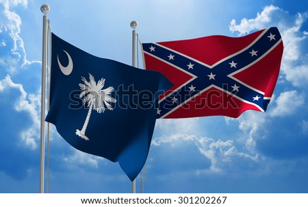 South Carolina and Confederate States flags flying together - stock photo