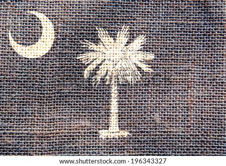 south carolina flag sackcloth texture - stock photo