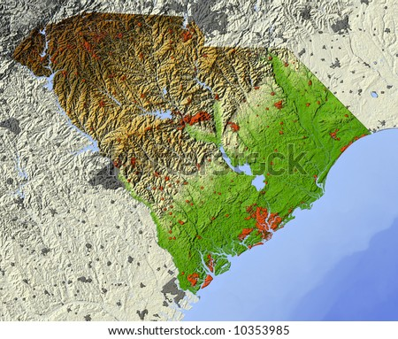 South Carolina. Shaded relief map.  Shows major urban areas and rivers, surrounding territory greyed out.  Colored according to relative terrain height. - stock photo